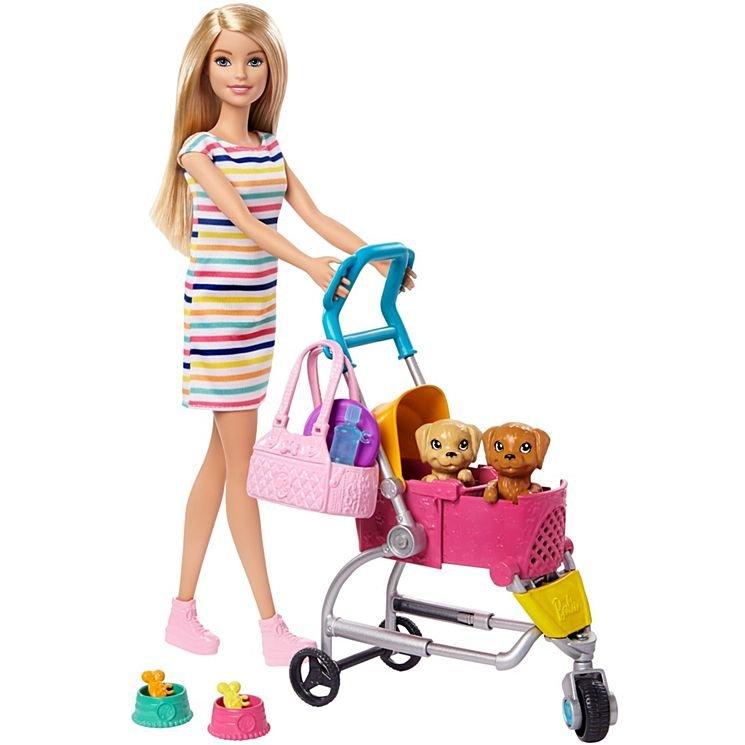 Кукла Barbie со щенком в розовой коляске GHV92 купить в Минске